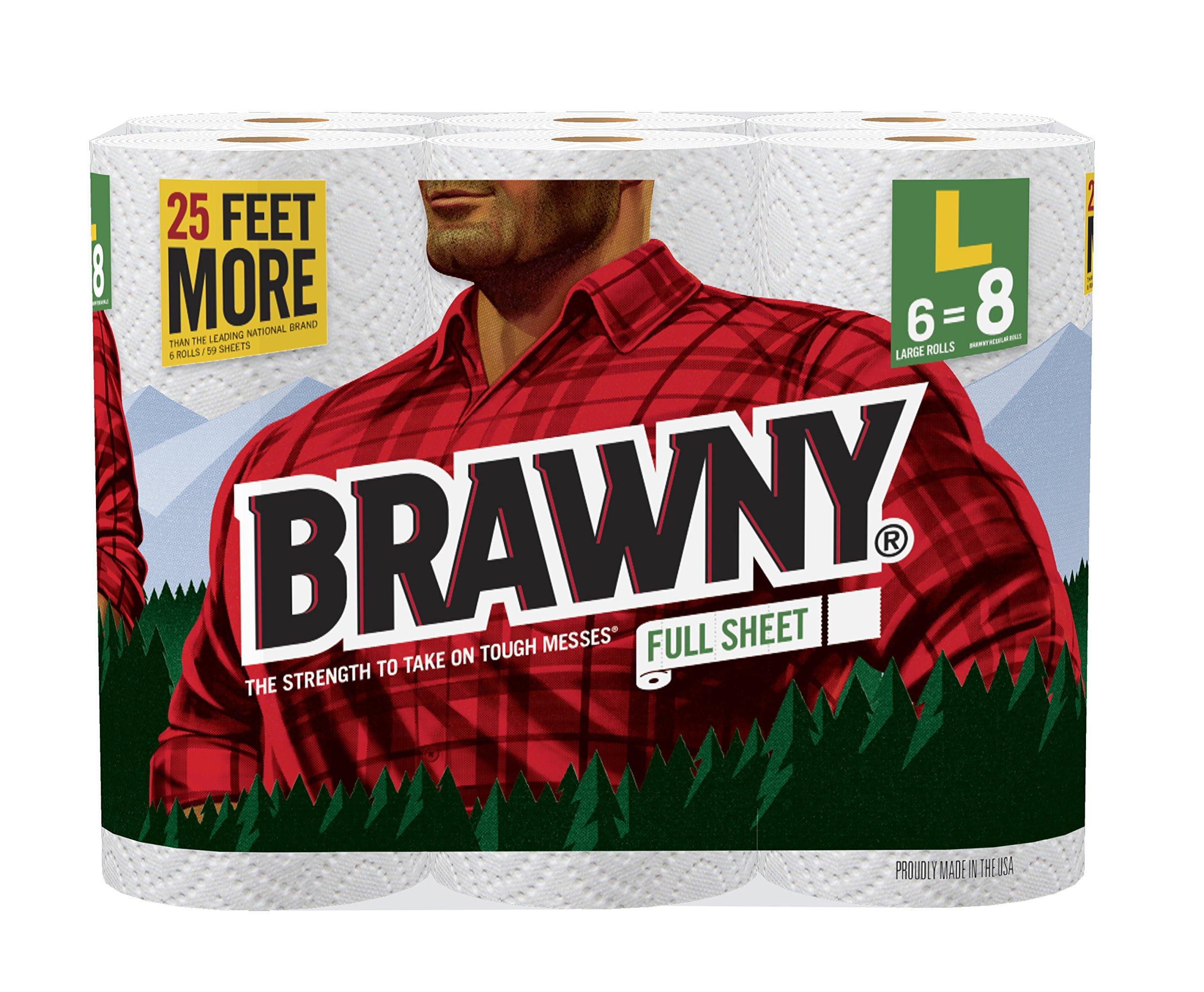 Brawny Paper Towels, 6 Large Rolls, Full Sheet, 6 = 8 Regular Rolls