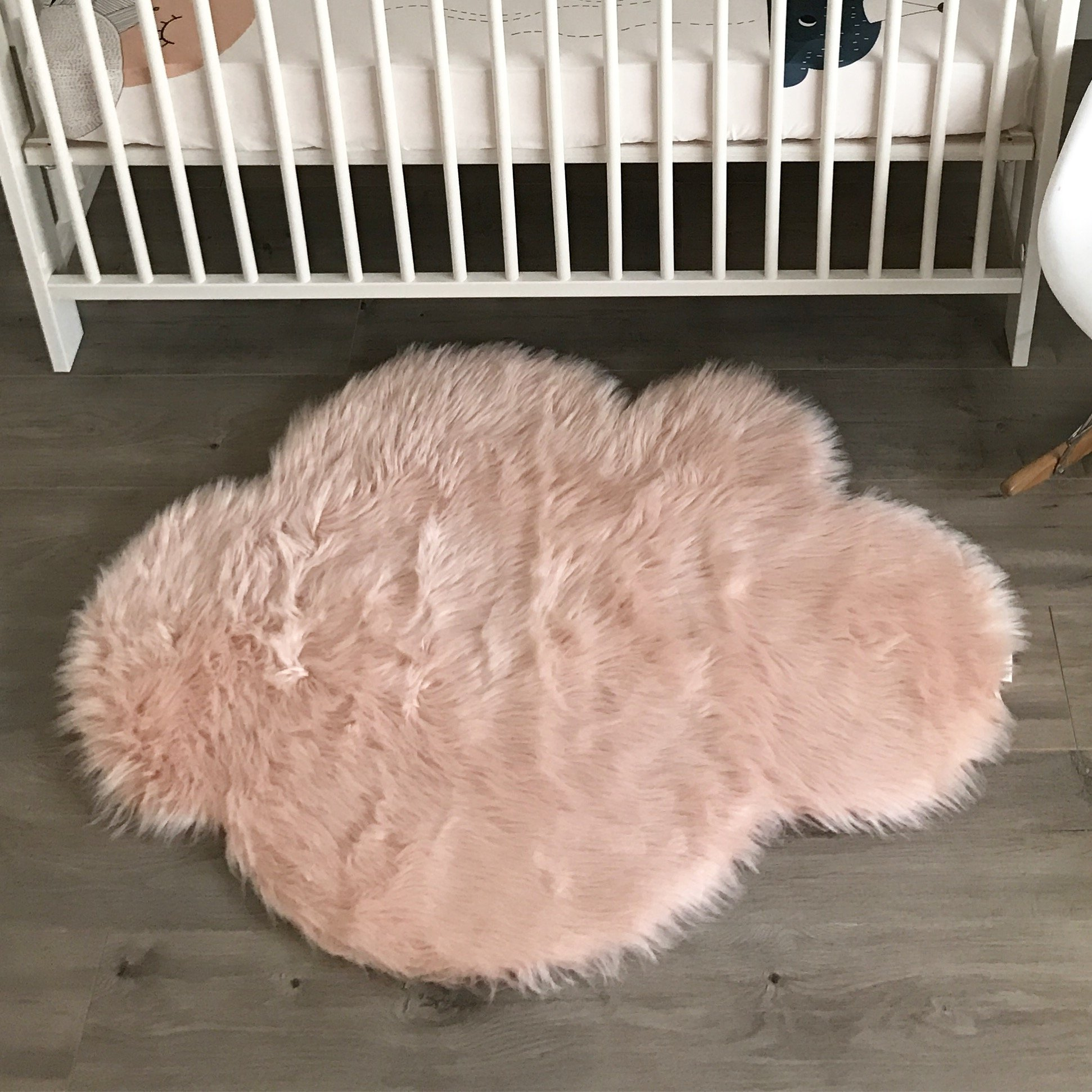 Machine Washable Faux Sheepskin Blush Cloud Area Rug 32'' x 44'' - Soft and silky - Perfect for baby's room, nursery, playroom (2' 7'' x 3' 7'') - Blush Cloud