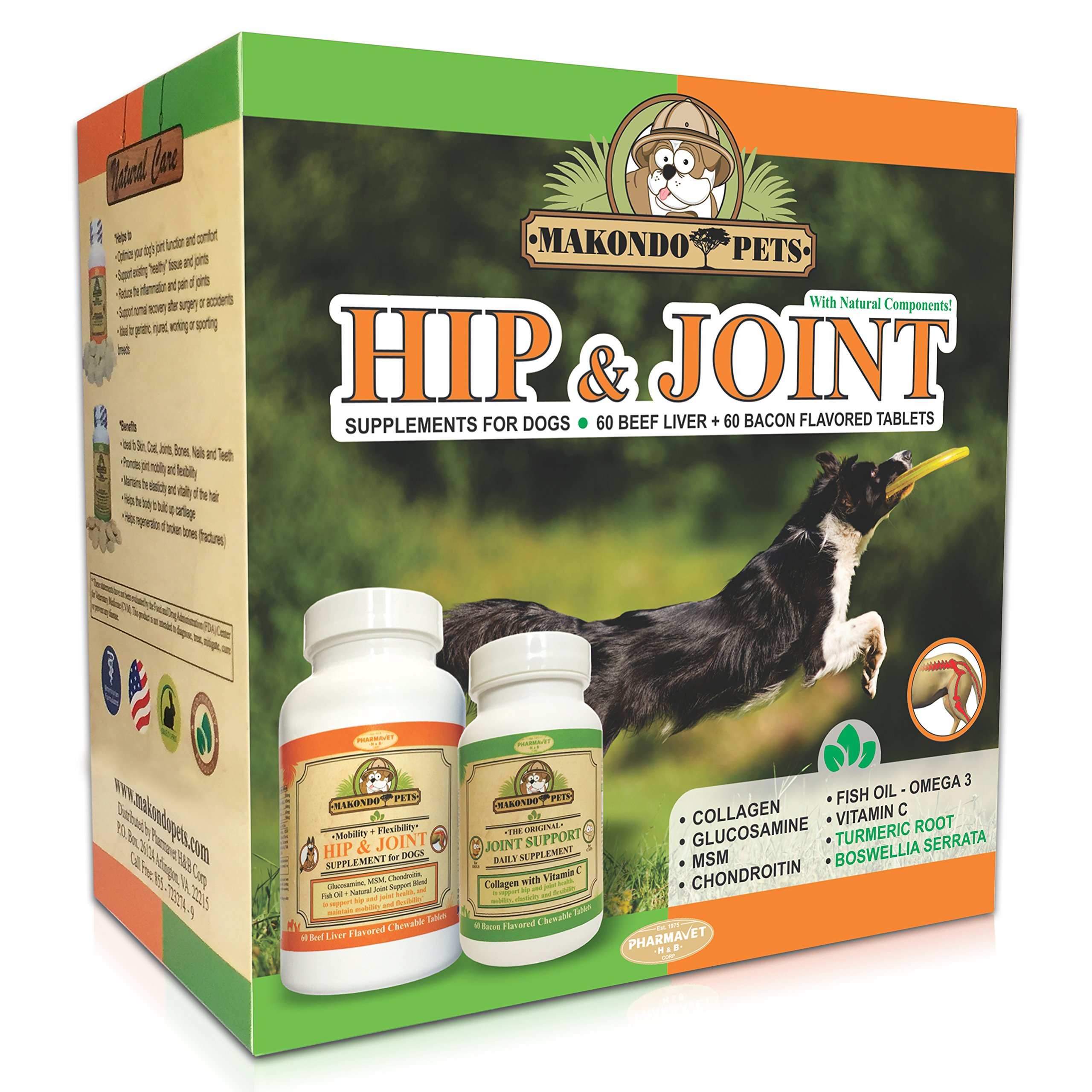 Dog Arthritis Joint Supplements for Pets – Canine Collagen Chondroitin MSM Dietary Dog Supplement – Dog Vitamins with Fish Oil and Glucosamine – 120 Tablets for Dogs – Natural Boswellia and Turmeric