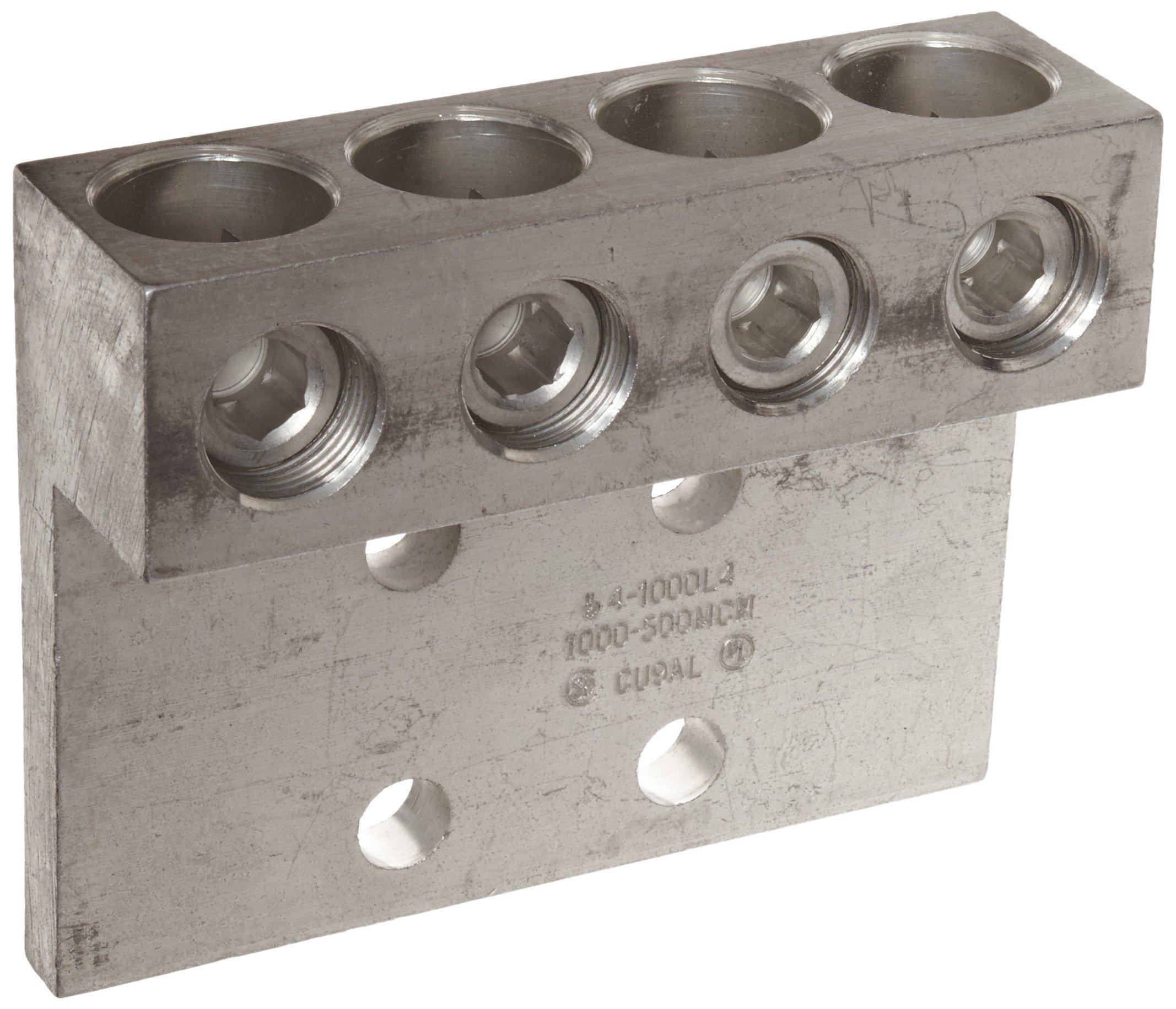 Morris Products 90880 Mechanical Lug, Four Conductors, Four Hole Mount, Aluminum, 1000 AWG, 1000mcm - 500mcm Wire Range