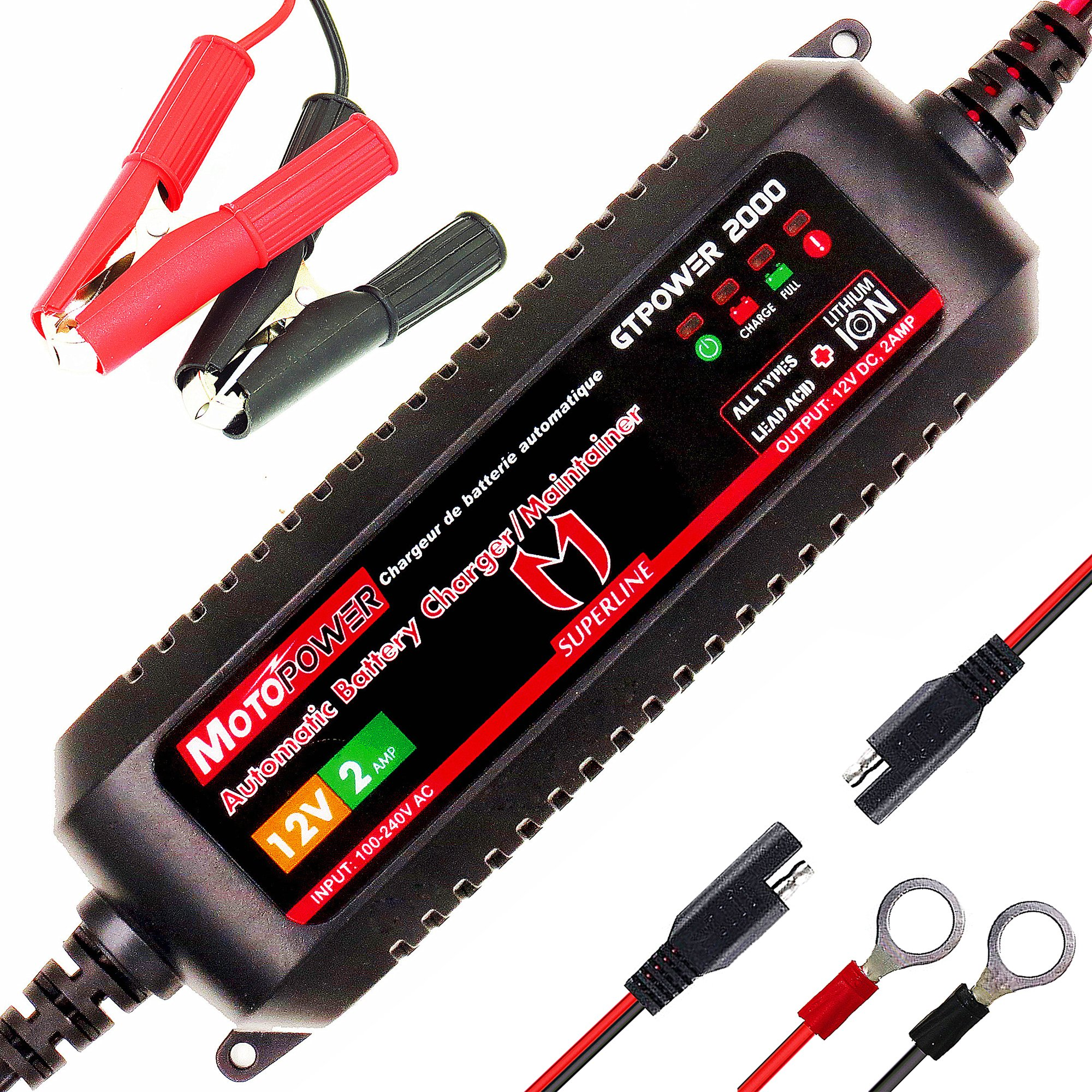 MOTOPOWER MP00207A 12V 2Amp Smart Automatic Battery Charger/Maintainer for Both Lead Acid Batteries and Lithium Ion Batteries