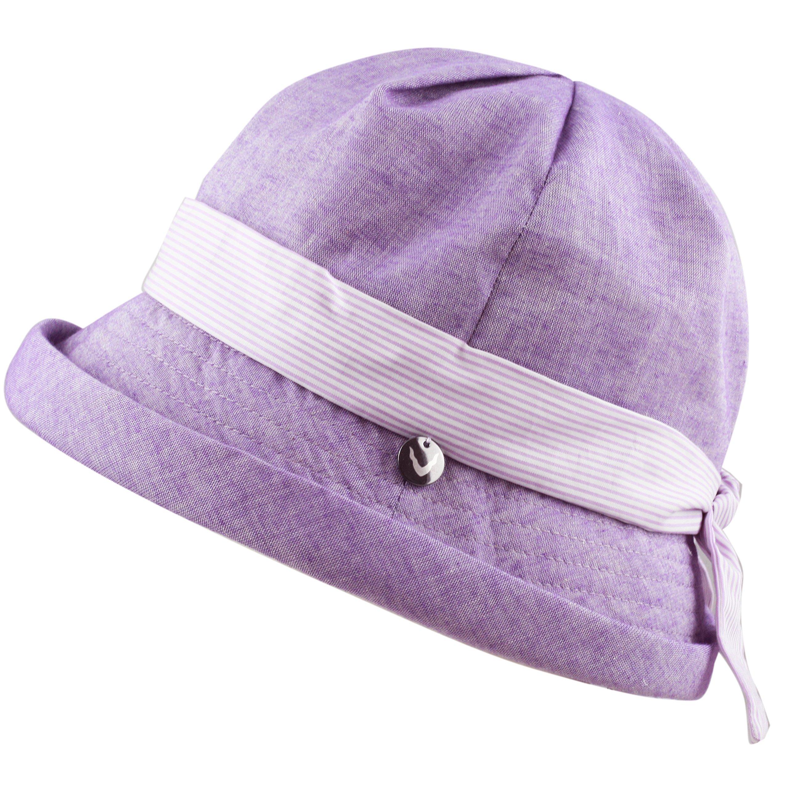 BLACK HORN Ladies Packable Women's Sun Beach Bucket Hat (Elise-Lavender)
