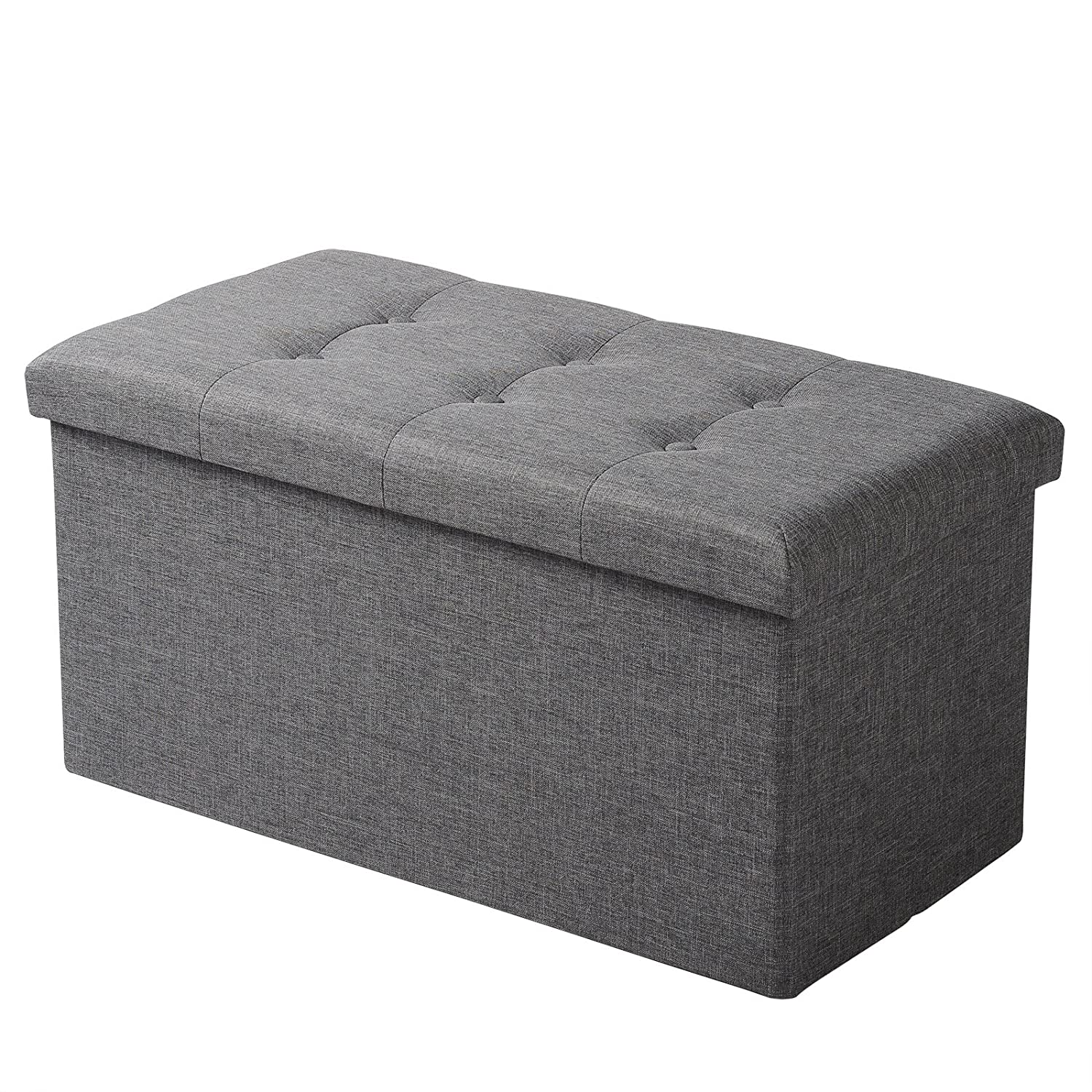 Ottomans Lucia Storage Chest Grey Fabric: WOLTU Large Ottoman Storage Pouffe Linen Fabric Bed Side