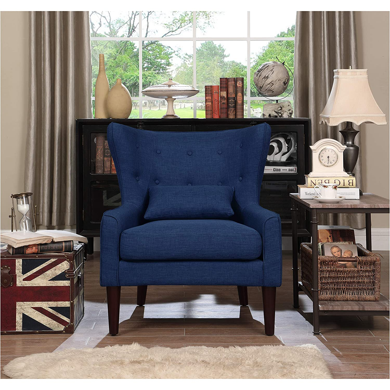 Amazon.com: Rosevera Liviana Tufted Wingback Club Chair with Back Cushion, Brown: Kitchen & Dining