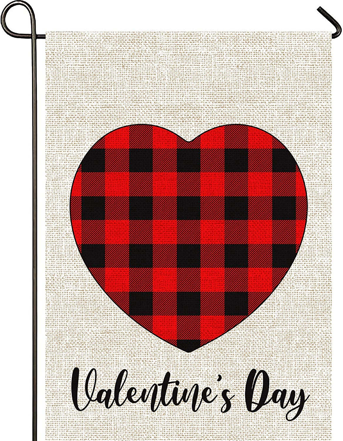 Mogarden Valentine's Day Garden Flag, Double Sided, 12.5 x 18 Inches, Red Black Heart Buffalo Check Plaid Thick Weatherproof Burlap Yard Flag
