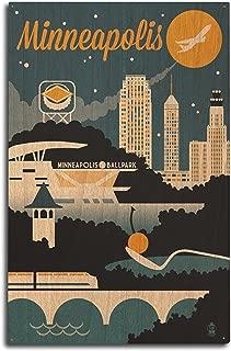product image for Lantern Press Minneapolis, Minnesota - Retro Skyline (10x15 Wood Wall Sign, Wall Decor Ready to Hang)