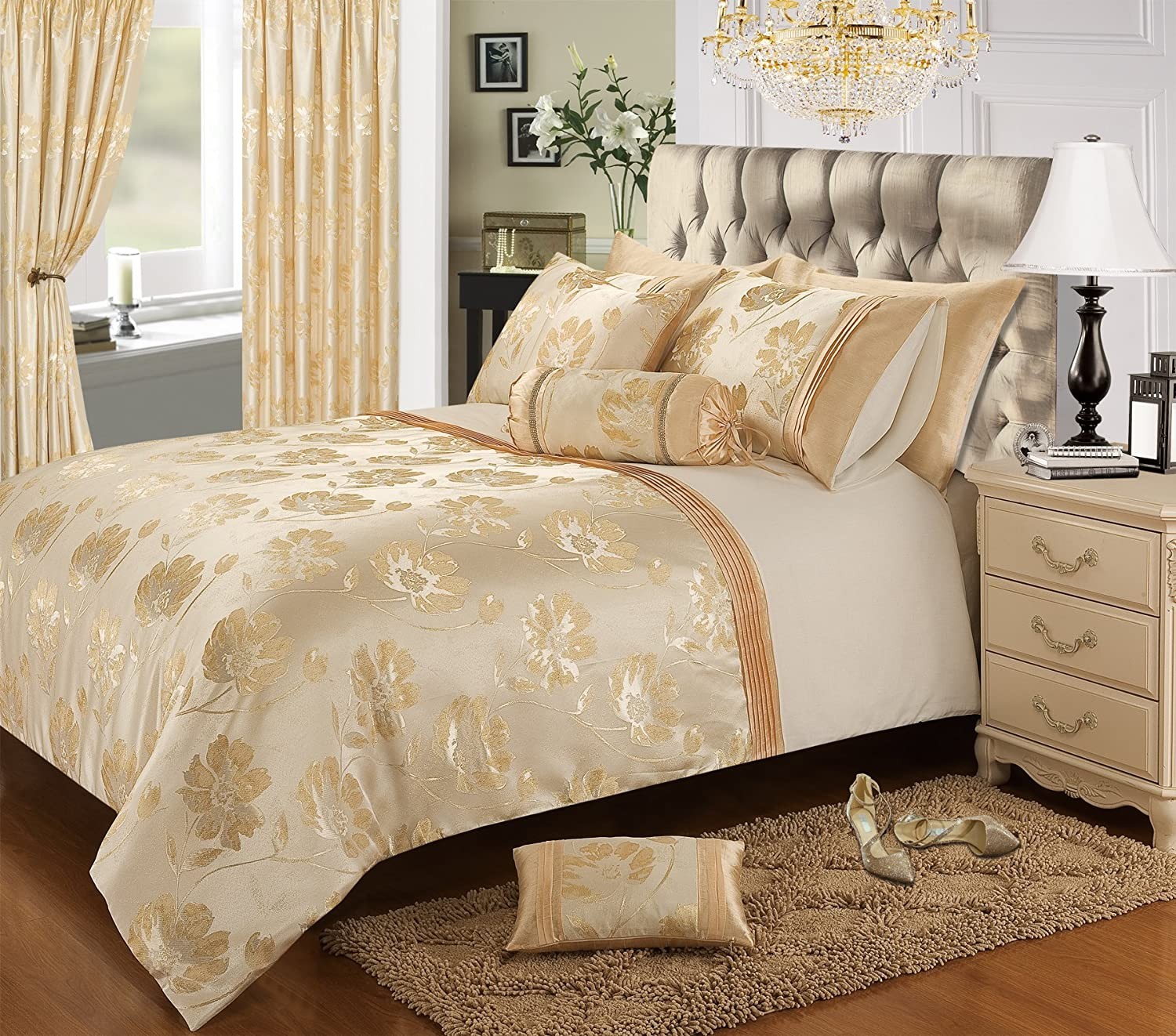 Home Bedding Store Premium Double Bed Luxury Jacquard Gold Cream