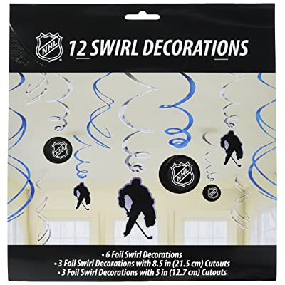 "NHL Ice Time! Collection"" Swirl Party Decorations Value Pack: Toys & Games,\""  Paper cutouts/metallic silver & blue foils"