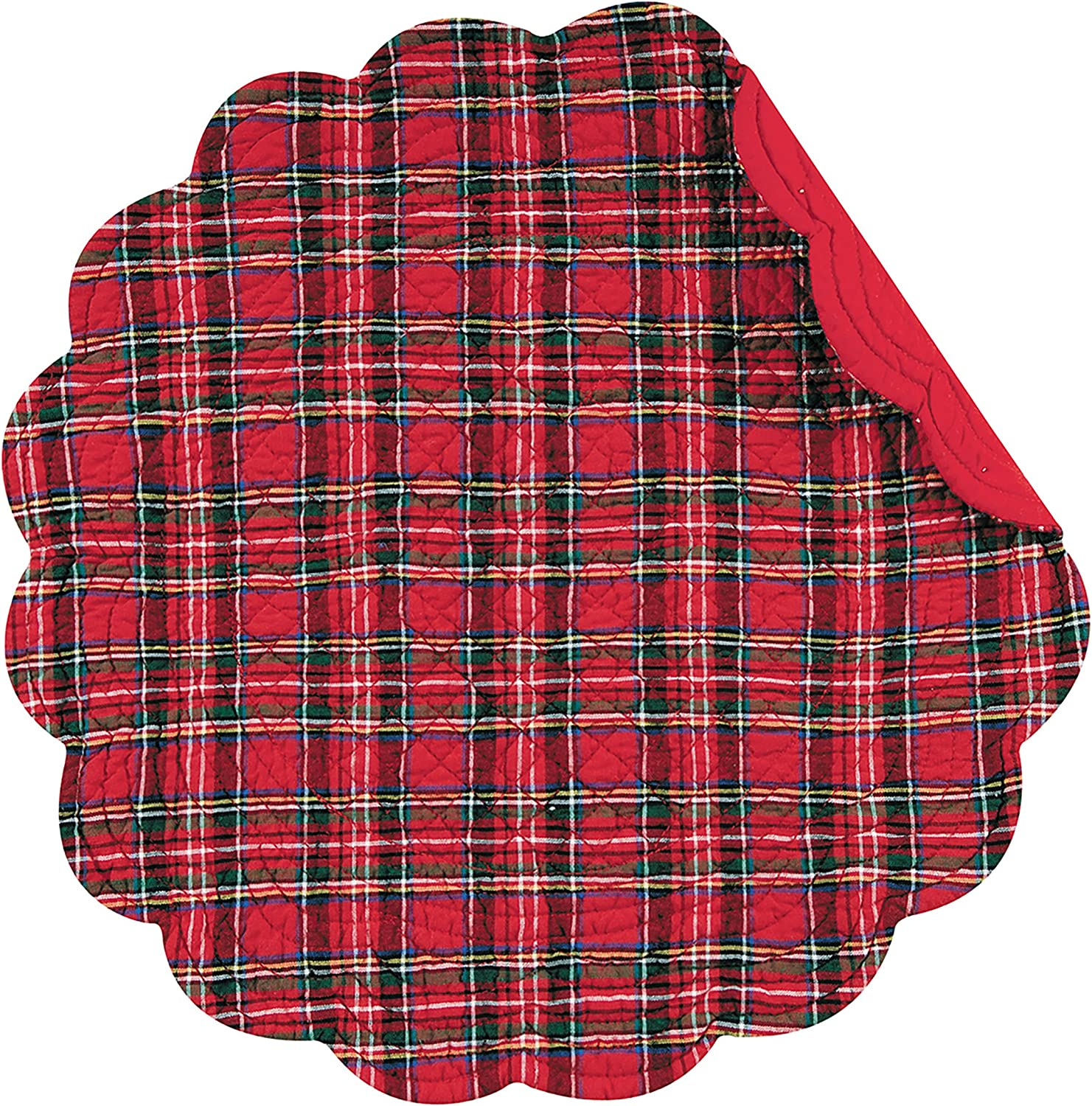 Amazon Com C F Home Red Plaid Round Cotton Quilted Cotton Reversible Machine Washable Placemat Set Of 4 Round Placemat Red Home Kitchen
