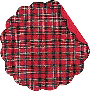C&F Home Red Plaid Round Cotton Quilted Cotton Reversible Machine Washable Placemat Set of 4 Round Placemat Red