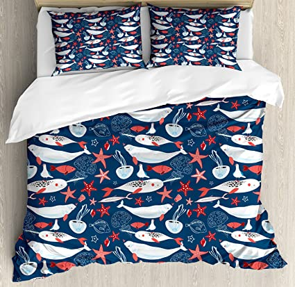 Narwhal Duvet Cover Set Arctic Ocean Fauna With School Of Fish Narwhal And Jellyfish Sketch Decorative 4 Piece Bedding Set Home & Garden Bedding
