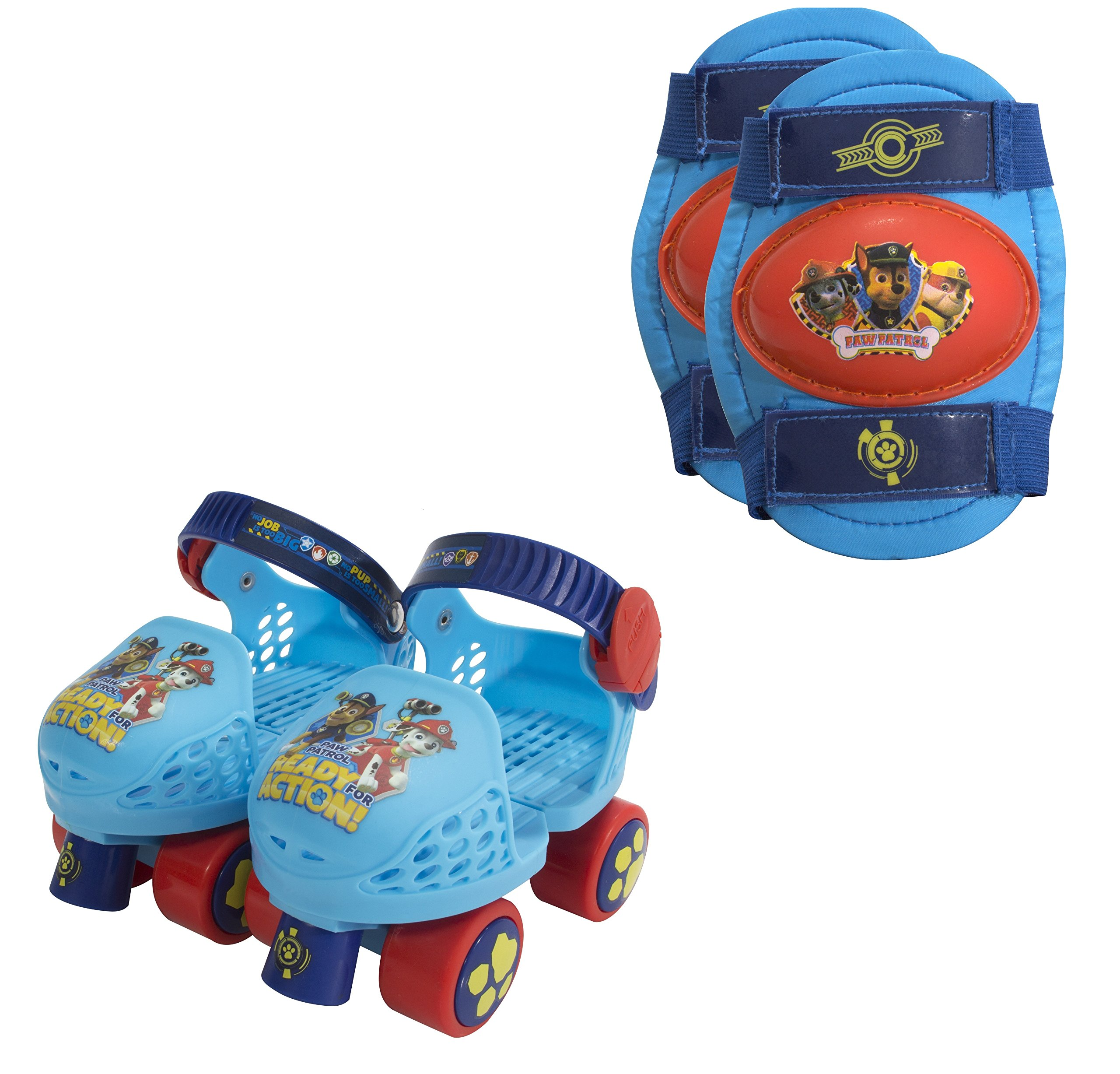 PlayWheels PAW Patrol Roller Skates with Knee Pads, Blue/Red Junior Size 6-12