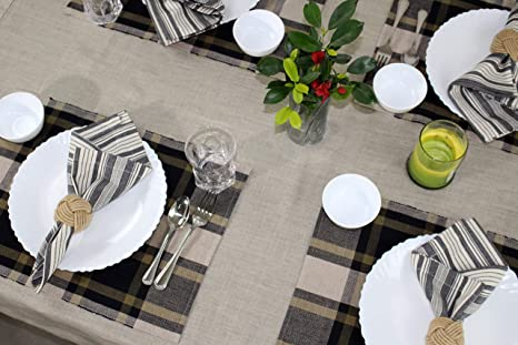 Amazon Com Cotton Craft Rustic Plaid Set Of 4 Pure Cotton Placemats Black And Gold Kitchen Dining