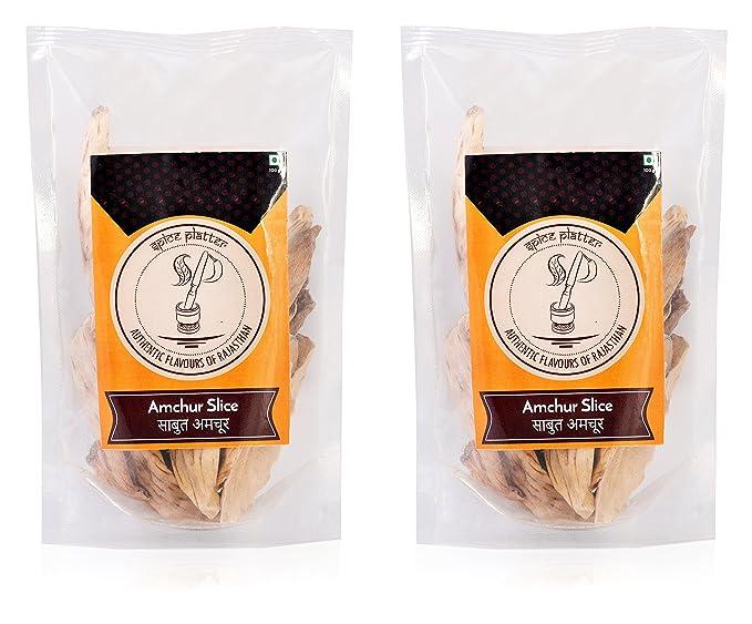 Spice Platter Amchur Slice (Sabut Sukha Aamchoor) Kaacha aam- 200 Grams - Pack of 2 - 100g Each