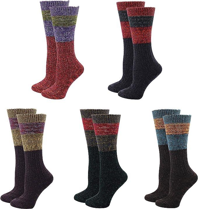 5Pairs Ladys Womens 100/% Cotton Crew Socks Warm Novelty Funny Dress Socks