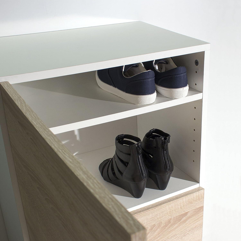 White//Natural Oak Temahome Bamboo Shoe Storage Cabinets