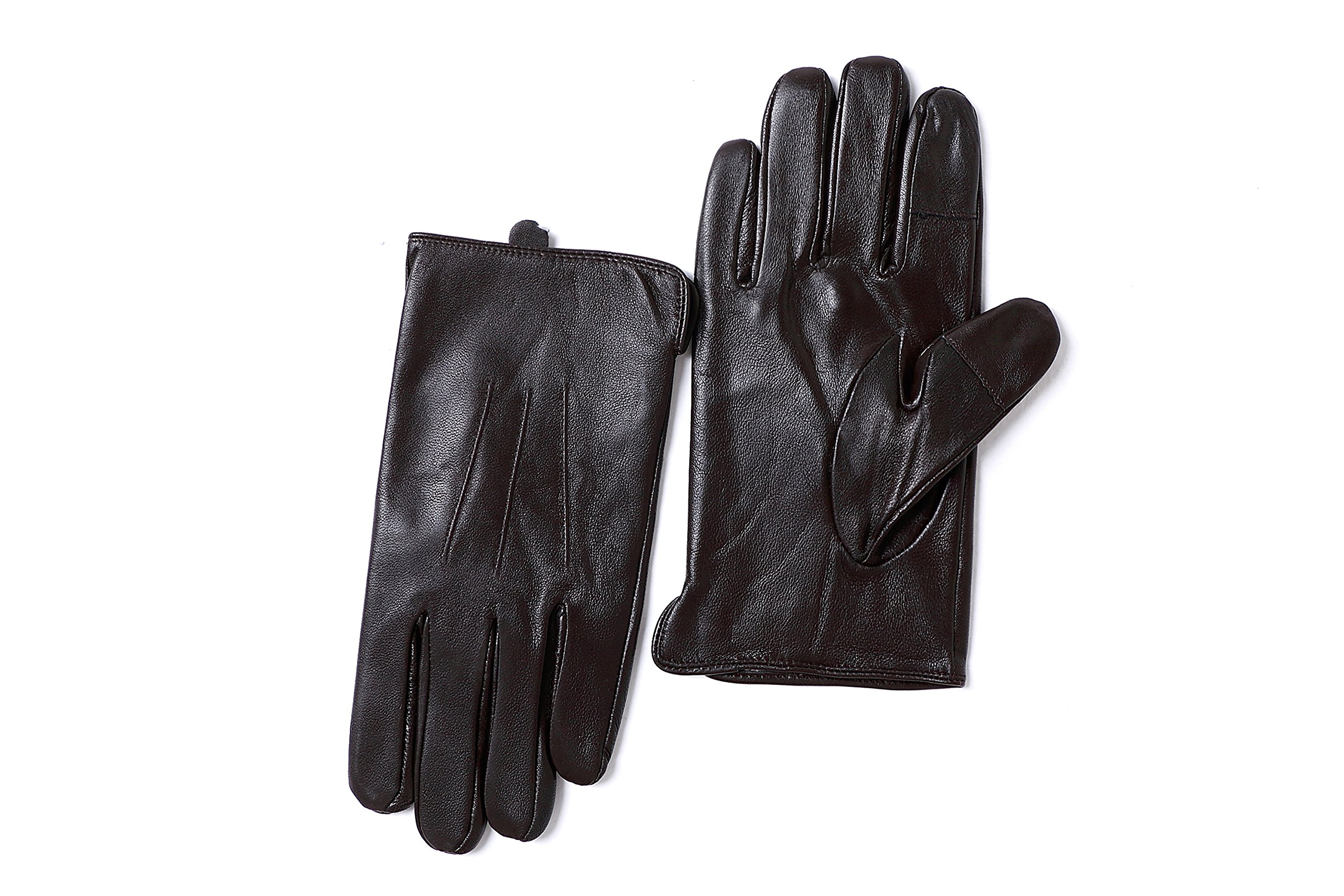 YISEVEN Men's Sheepskin Leather Gloves Three Points Wool Lined Real Luxury Design Soft Hand Warm Fur Heated Lining for Winter Stylish Dress Work Xmas Gift and Motorcycle Driving, Brown 095/Large by YISEVEN (Image #5)