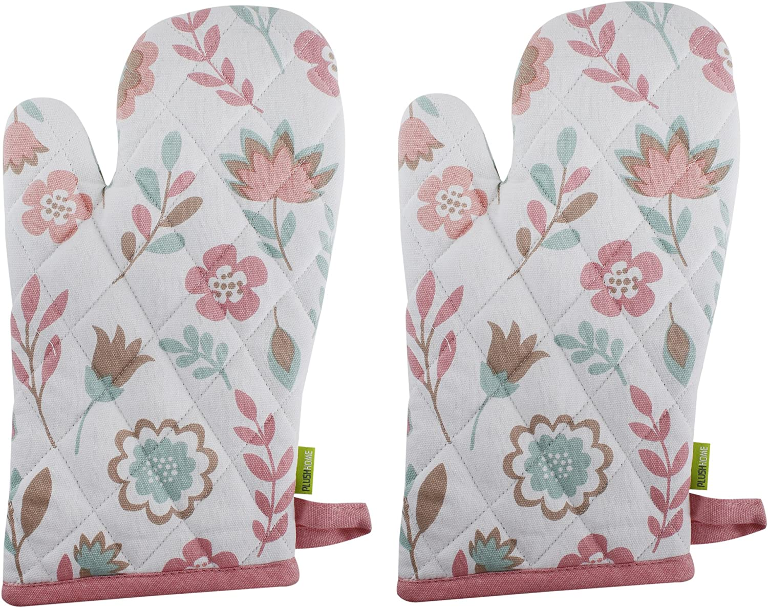 """Set of 2 Oven Mitts, 100% Cotton of Size 7""""X12 Inch, Eco-Friendly & Safe, Pink Spring Fields Design for Kitchen"""