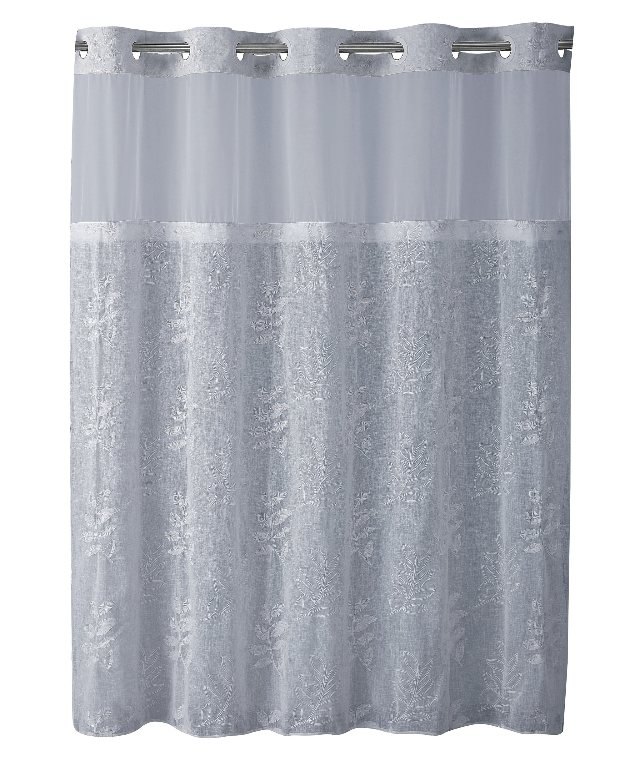 Hookless Palm Leaves Shower Curtain with Flex On Rings and PVC-Free PEVA Liner (Blue)