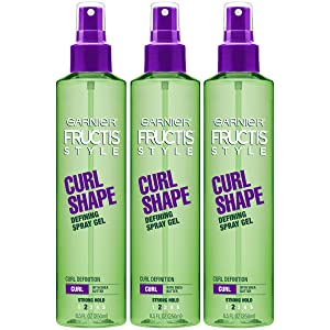 Garnier Fructis Style Curl Shape Defining Spray Gel for Curly Hair, 8.5 Fl Oz, Pack of 3