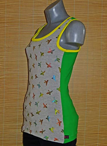 Damen Top Shirt Bunt schillernde Birds Gr. S 34 36: Amazon.de: Handmade