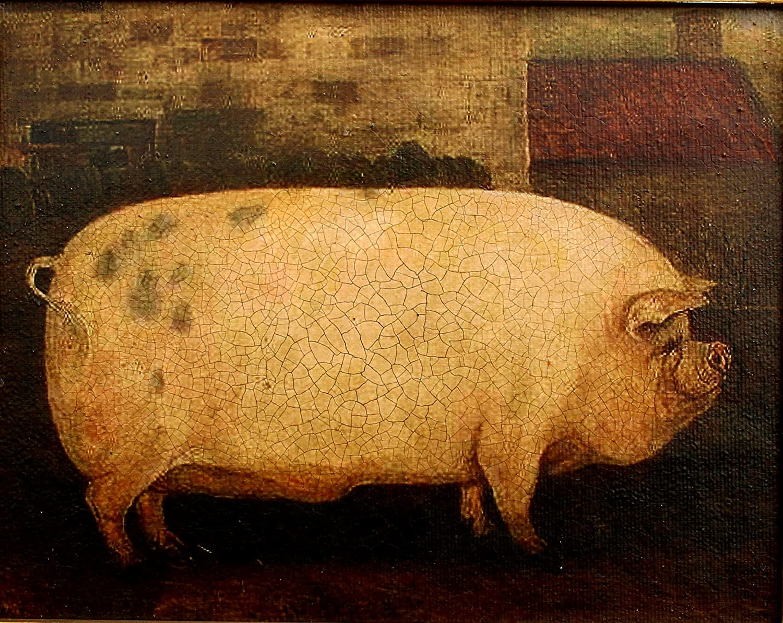 Gilt Framed Oleograph of a Prize Pig
