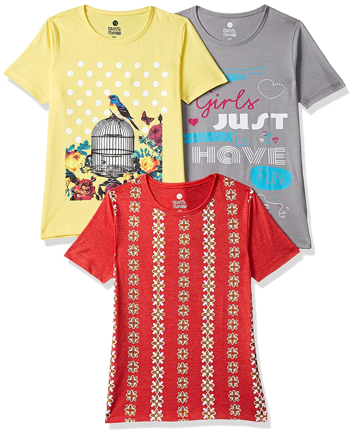Cloth Theory Girl's T-Shirt (Pack of 3)