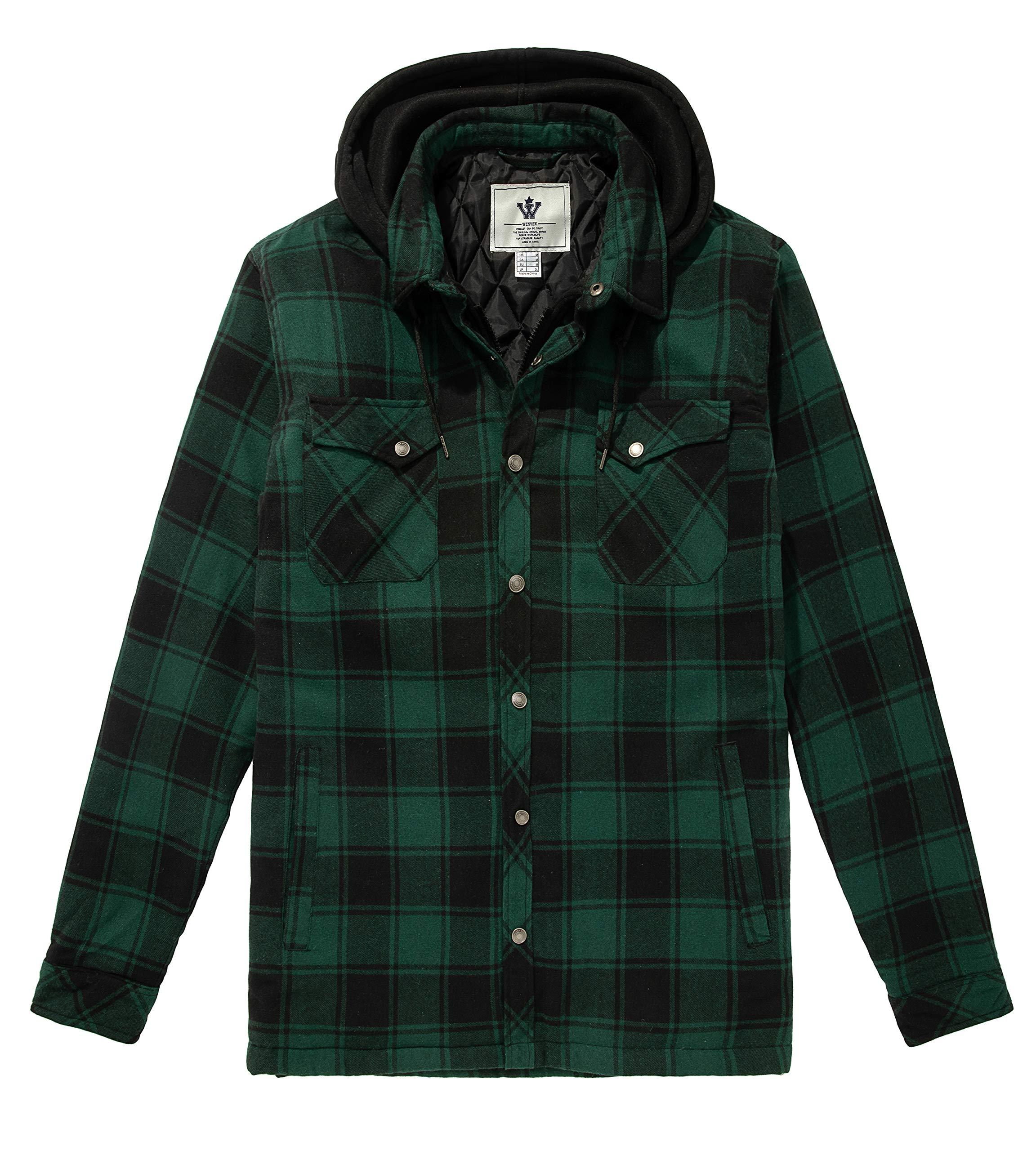 WenVen Men's Thicken Plaid Flannel Quilted Hood Shirt Jacket(Dark Green, S) by WenVen