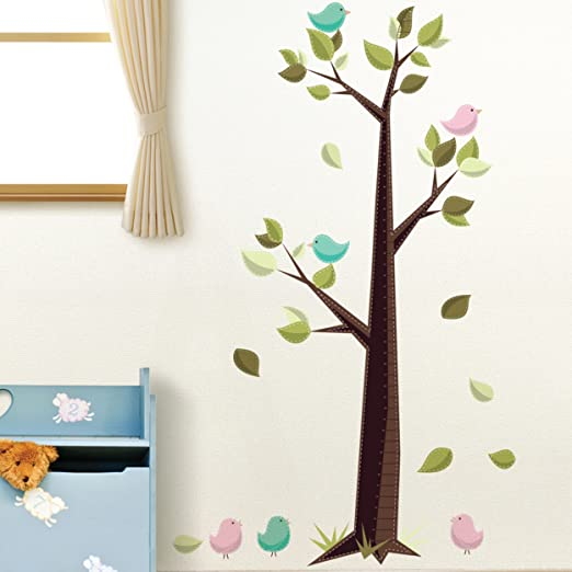 Amazon Com Die Cuts With A View Home Peel And Stick Wall Art Tree Growth Chart Home Decor Products Home Kitchen