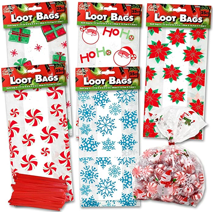 Christmas Cellophane Bags 150 Pack With Twist Ties Holiday Favor Treat Gift Goodie Cello Bags For Party Candy Cookies, 6 Assorted Styles; Peppermint Poinsettia Snow Flake Santa Snowman Gift Box Design