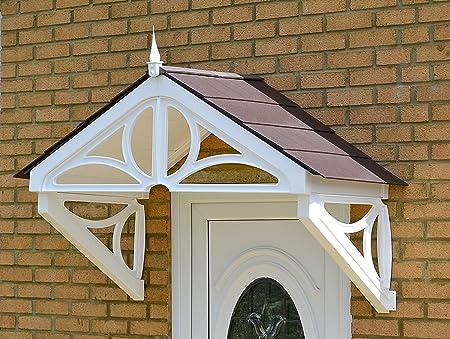 UK Made Brown Frame, Grey Roof Hilton Storm Porch Canopy From KoverTek