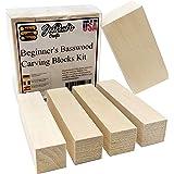Whittler's Premium Basswood Carving Block Kit - Best Gift Set for DIY Craft Hobbyists - Preferred Whittling Soft Wood…
