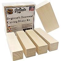 JoePaul's Crafts - Kit de bloques de tallado de madera de basswood para principiantes – Mejor kit para el tallador de madera – Preferido de madera blando tamaños incluidos – Fabricado en los Estados Unidos