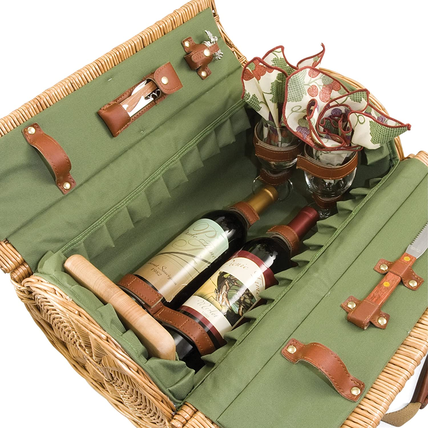 Verona Insulated Willow Basket with Wine and Cheese Service for Two