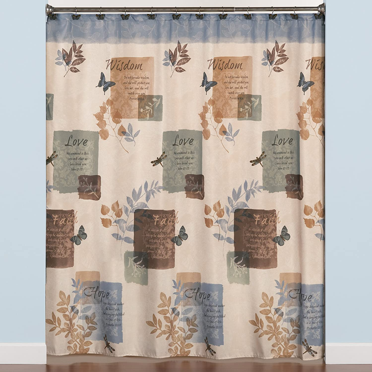 Amazon SKL Home By Saturday Knight Ltd Faith Shower Curtain Blue Kitchen