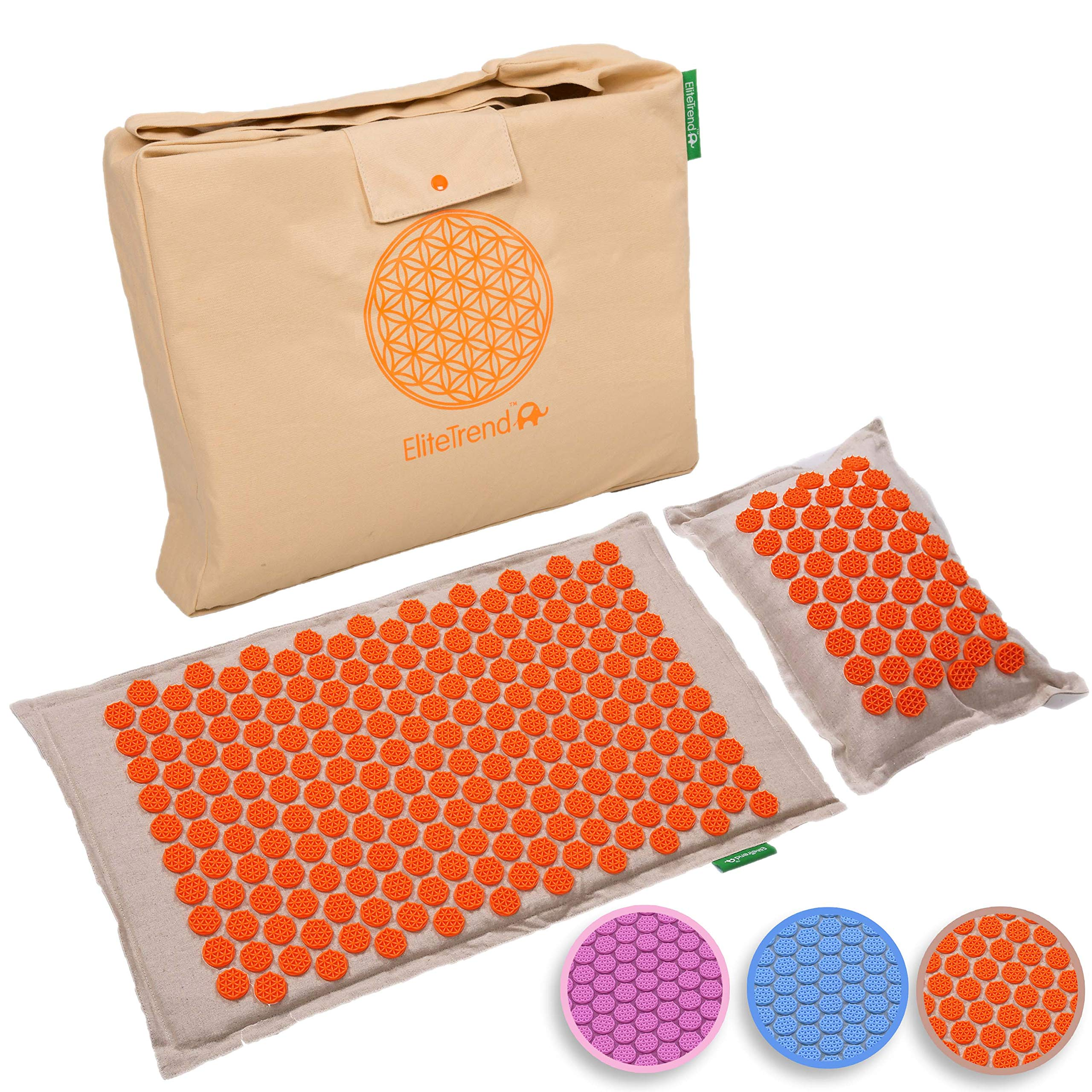 Back Massager Mat Pillow Set: Back and Neck Pain Acupressure Mats, Reflexology, Eco Natural Organic, 3 New Items Limited Time Price (Reg. $80) Help Sciatica, Triggers Point Acupuncture (Orange Spike) by Elite Trend