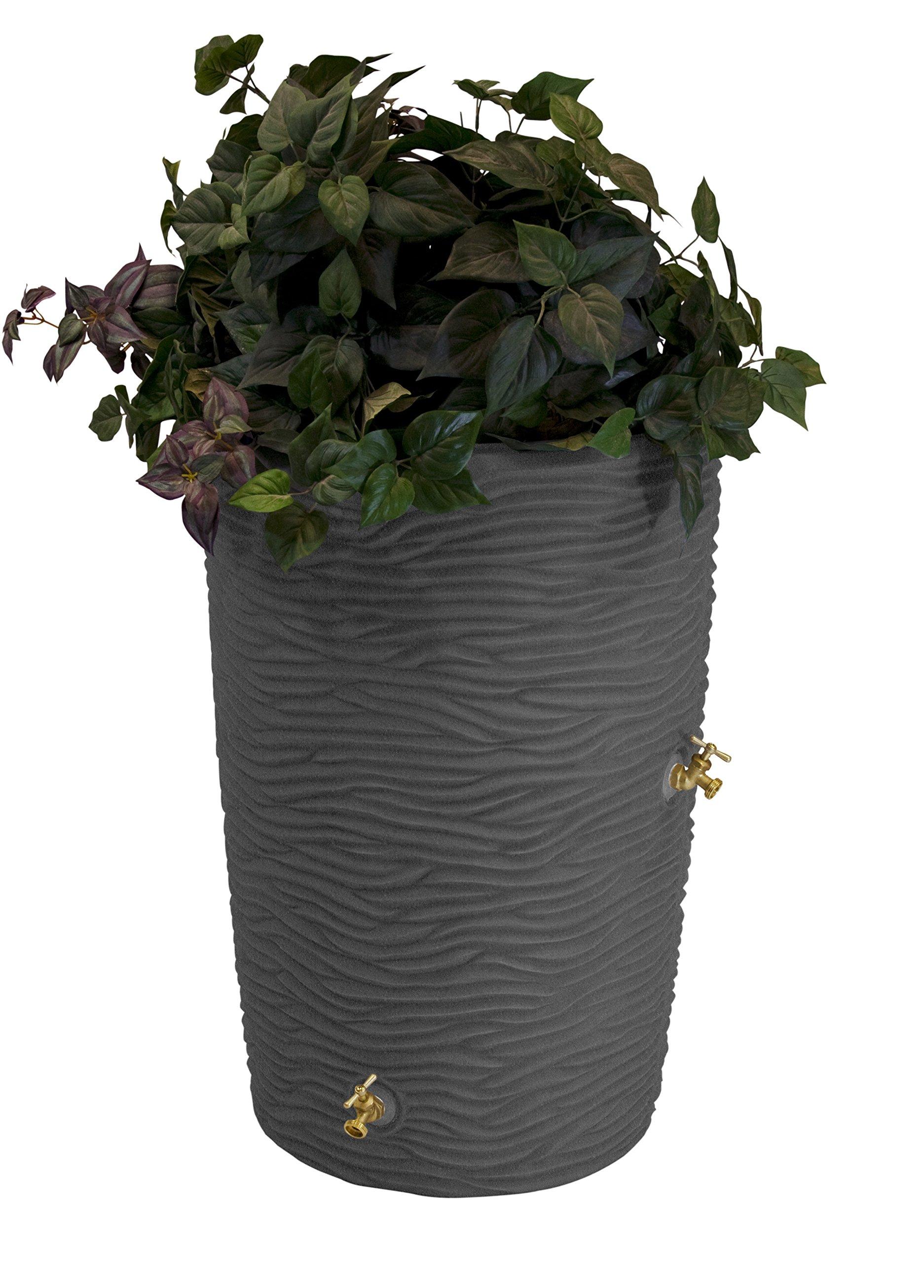 Good Ideas IMP-L50-DAR Impressions Palm Rain Barrel, 50-Gallon, Dark Granite