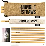 Jungle Straws   Reusable Bamboo Drinking Straws   100% Natural & Eco Friendly   Biodegradable & Organic   Includes Cleaning Brush, Single Straw Pouch & Storage Bag   Dishwasher Safe   Plastic Free