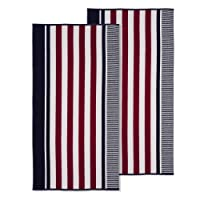 Superior 100% Cotton 550 GSM, Soft, Plush Highly Absorbent Checkered Textured Oversized Beach Towel (Set of 2)