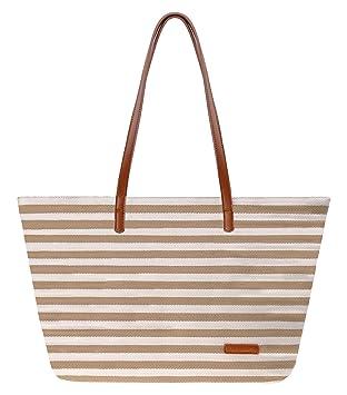 699ac9c6e0 Amazon.com  Canvas Tote Bag ZLYC Women Beach Bag Stripe Shoulder Bag Large  Hand Bag Casual Shopper Bag  Shoes