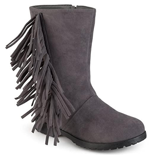 Journee Kids Round Toe Fringed Boots
