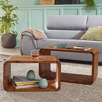 Entzuckend WOHNLING 2er Set Satztisch Massiv Holz Sheesham Wohnzimmer Tisch Landhaus  Stil Cubes Beistelltisch