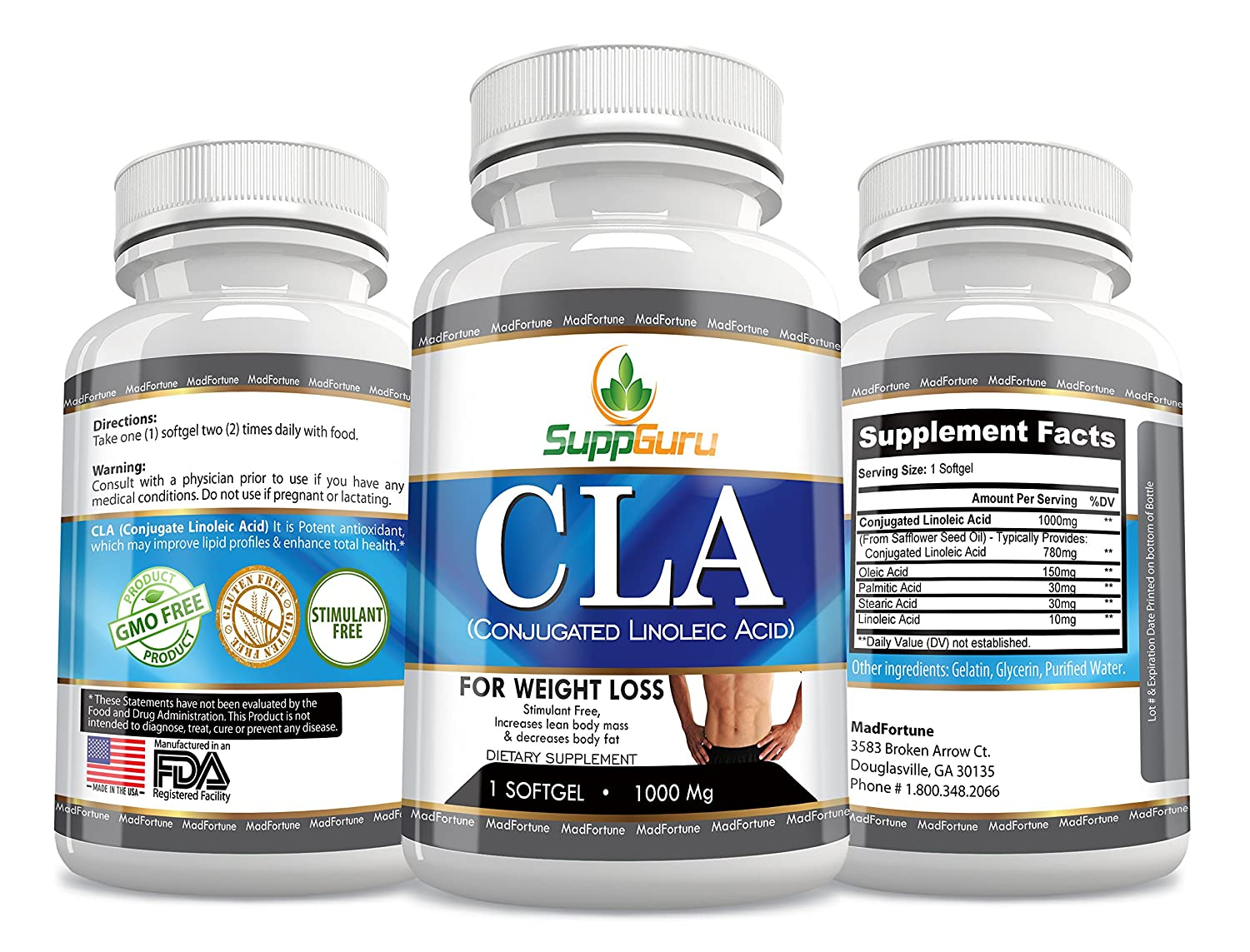 SuppGuru Conjugated Linoleic Acid CLA Supplement 1000milligram | Fat Burners for Natural Weight Loss Supplements | Safe, Non-stimulating, Caffeine-free | Weight Loss Supplements for Women and Men (90 Count, Softgel)