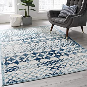 Modway Reflect Giada Distressed Vintage Abstract Diamond Moroccan Trellis 5x8 Indoor and Outdoor Area Rug, Ivory and Blue
