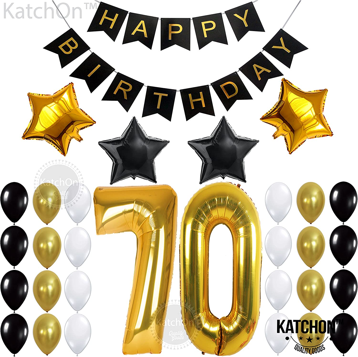 Amazon.com: Gold 70th Birthday Decorations for Men Kit – Large, 40 Inch |  Black and Gold Happy Birthday Banner with Mylar Star and Latex Balloons |  Gold 70 Balloon Numbers for 70