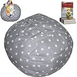 EXTRA LARGE Stuffed Animal Storage Bean Bag Chair | Finest Storage, Hammock & Organizer for kids' Plush, Jumbo & Cuddly Toys | Premium Quality Cotton Canvas | Free E-Book 40'' (Grey)