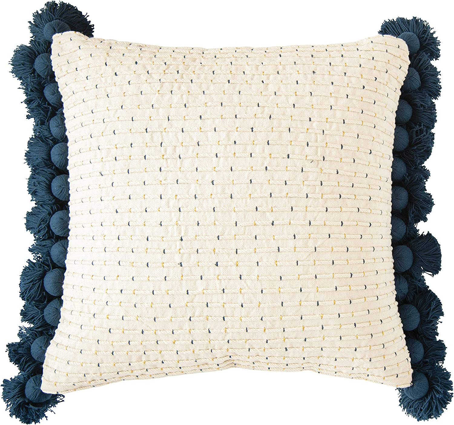 Pillow Insert included stock Silver Grey /& Navy Hand Embroidered Baby Pillowcase with Navy Lace Trim Embroidery Bassinet Pillow