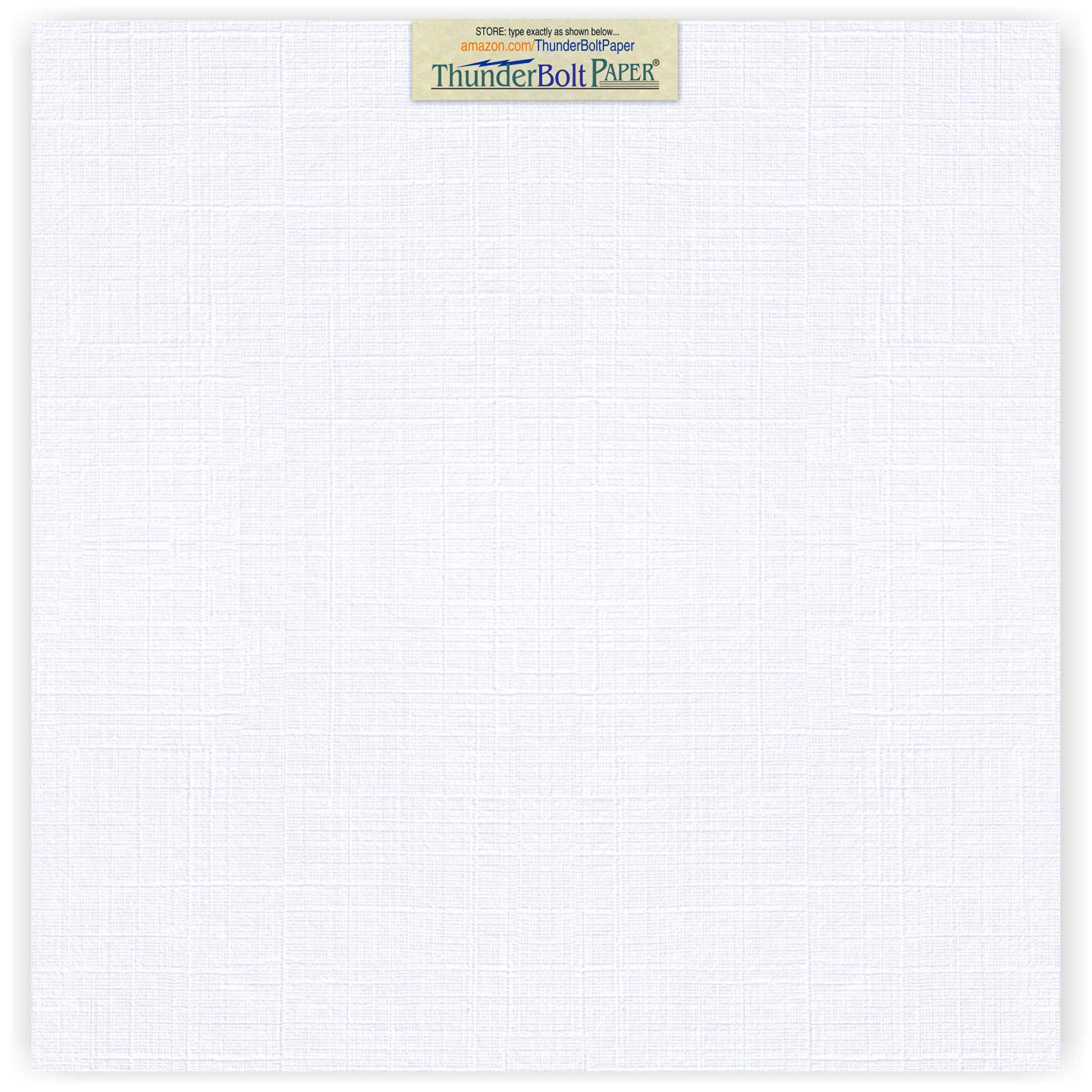 50 Bright White Linen 80# Cover Paper Sheets - 12X12 Inches Square Scrapbook Album Size - 80 lb/Pound Card Weight - Fine Linen Textured Finish Cardstock by ThunderBolt Paper