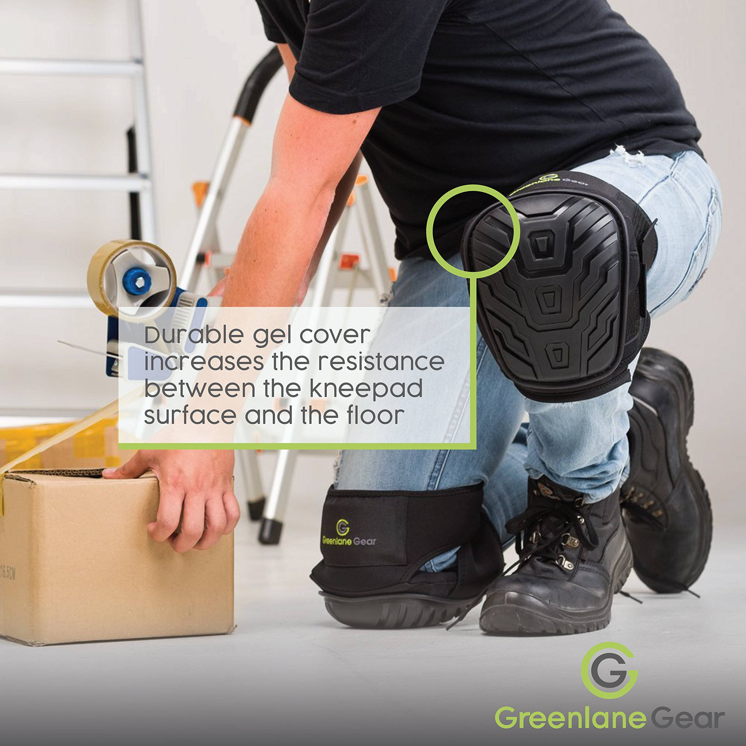 Gel Knee Pads for work designed to prevent slipping/sliding for gardening, construction, floor, tiling - Industrial grade heavy duty flexible kneepad- soft kneepads fits all (small-large) men/women by Greenlane Gear (Image #5)