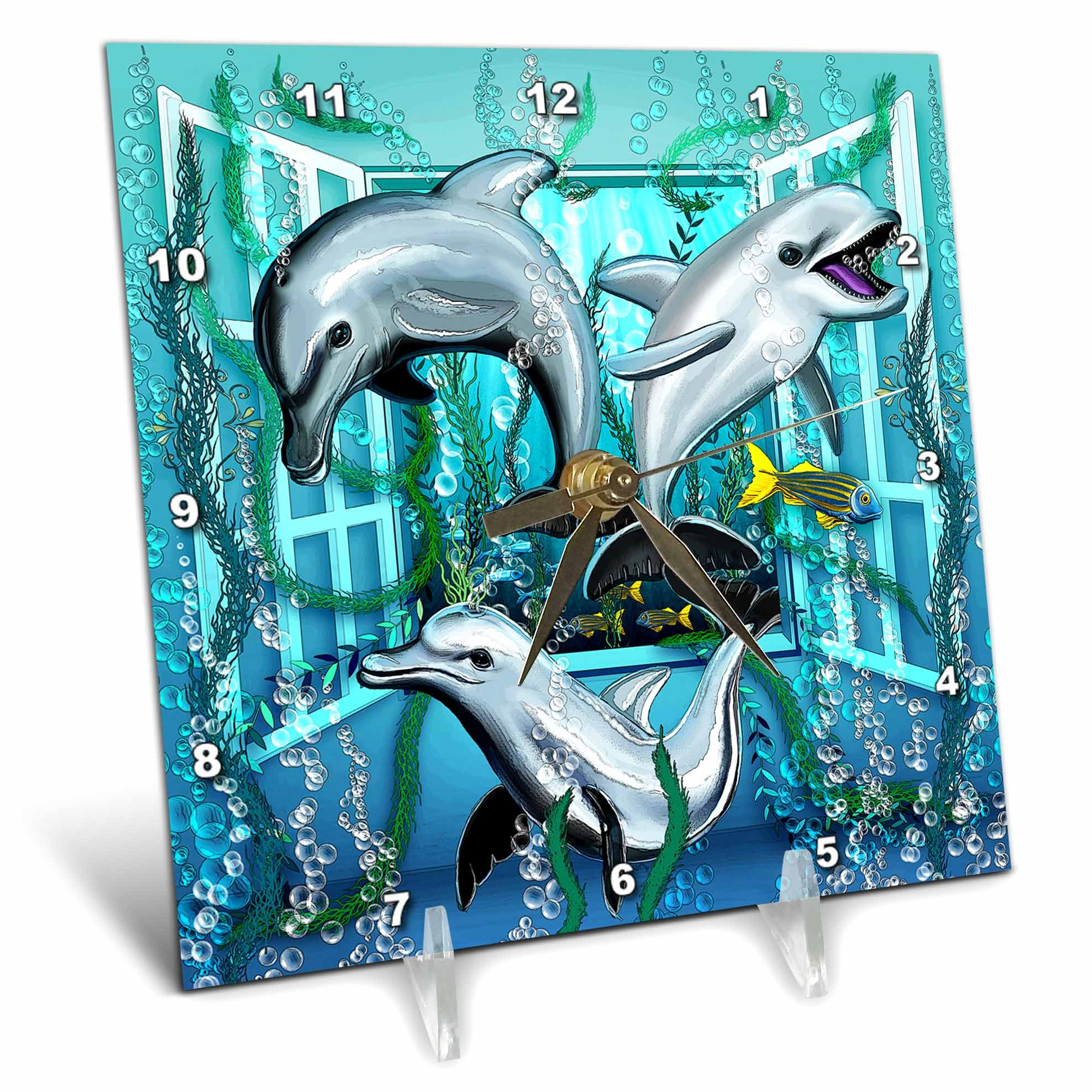 3dRose Dream Essence Designs-The Ocean - Three lively dolphins swim through an open window under the sea - 6x6 Desk Clock (dc_266090_1)